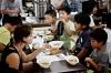 Iris eating with kids at Shorimgi Kenpo