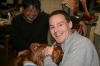 Jake with host father and dog in Suita