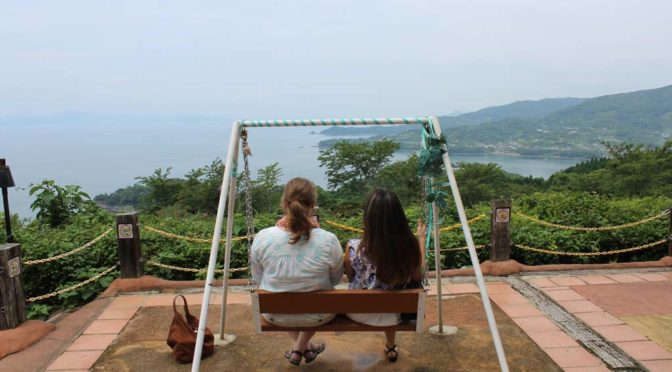 Anna Louise and Kanaenjoying the view from atopa mountain in minamata kumamoto