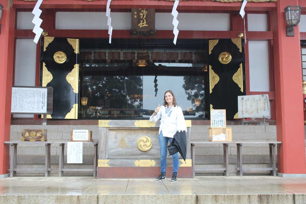 Andrea in front of the Afuri shrine