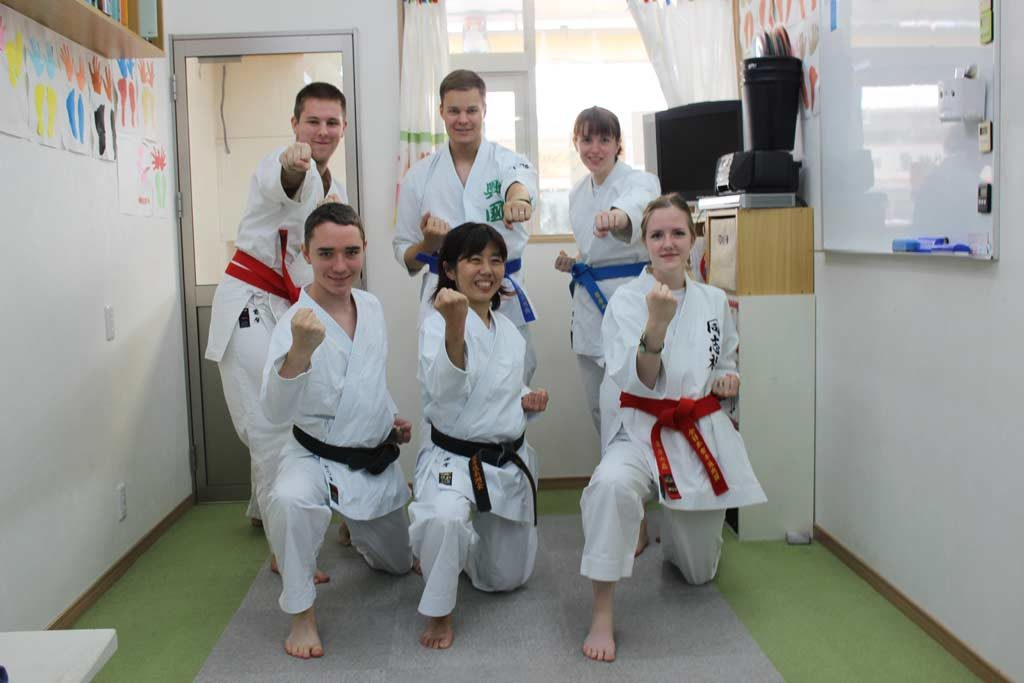 Group photo with English conversational school turned into Karate lesson