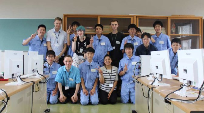 Group photo with students of Miike Technical Highschool