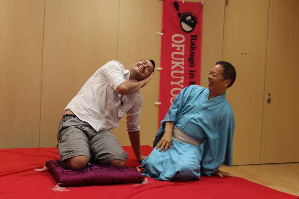 Kim trying Rakugo in Suita
