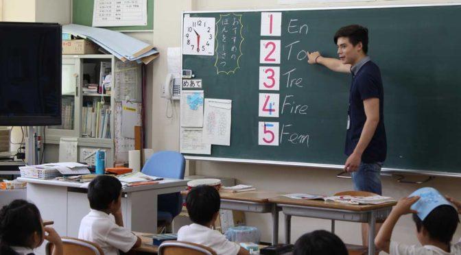 Markus teaching Norwegian in Murou elementary school