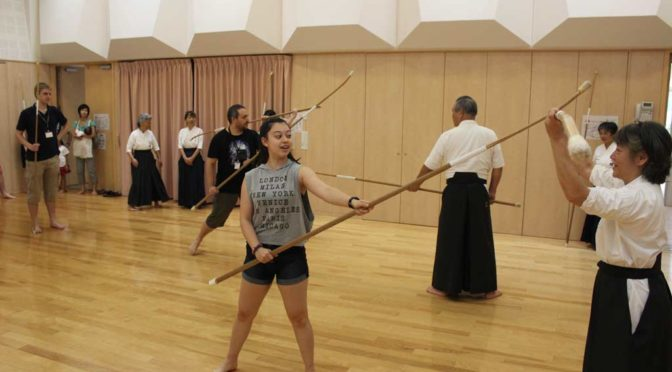 Allison trying out Naginata