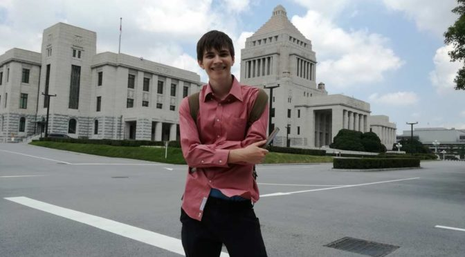 Harrison posing in front of the National Diet