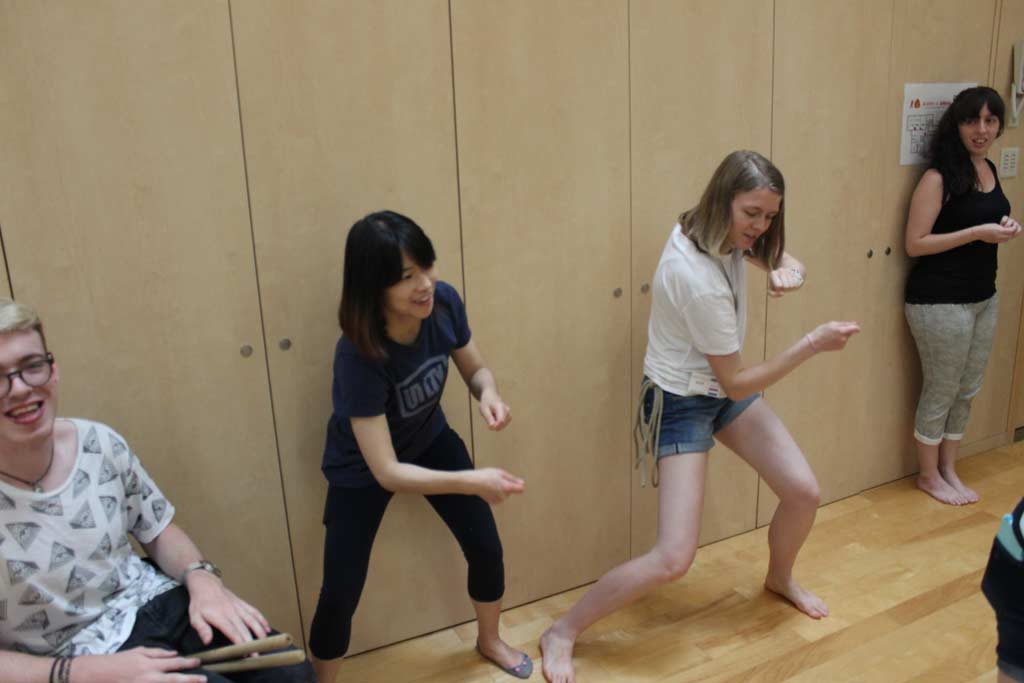 Xuan and-Sabine rehearsing their Taiko moves