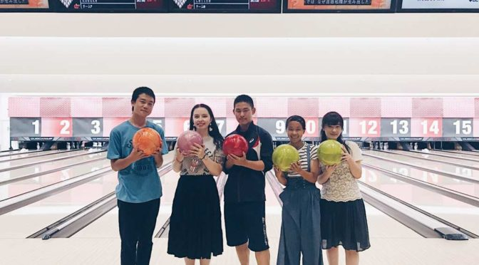 Celine out bowling with her host family in Isehara