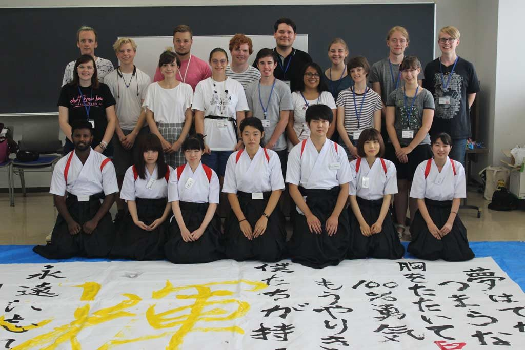 Group picture with the Calligraphy Club of Chuo Gakuin University in Abiko