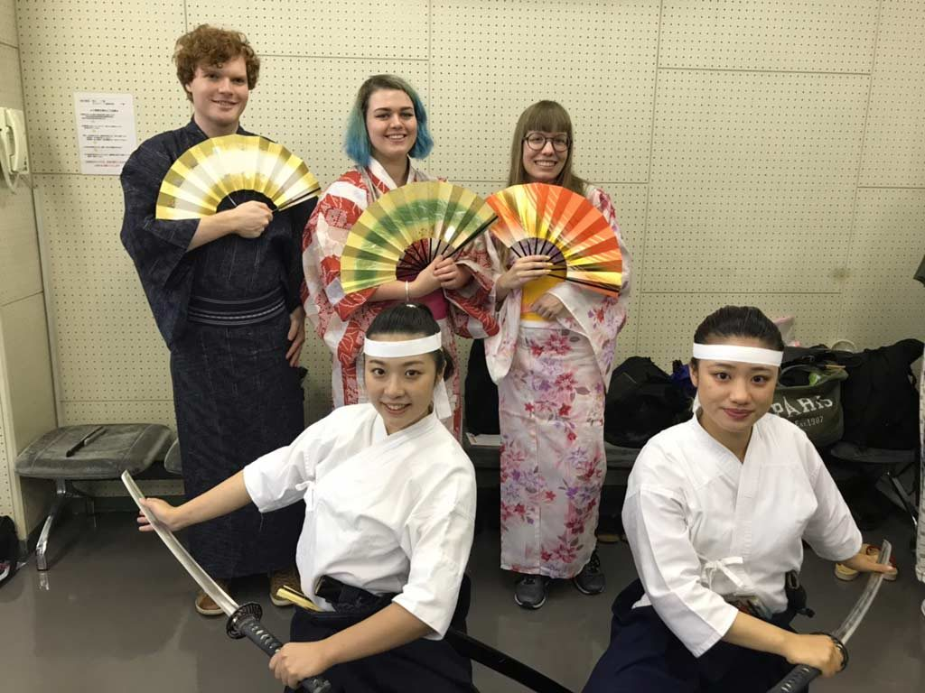 Posing in yukatas with the performers